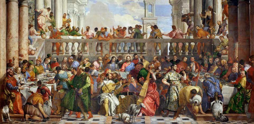 Paolo Veronese, Nozze di Cana, 1563, olio su tela, 6,7 x 9,9 metri, Museo del Louvre, Parigi.