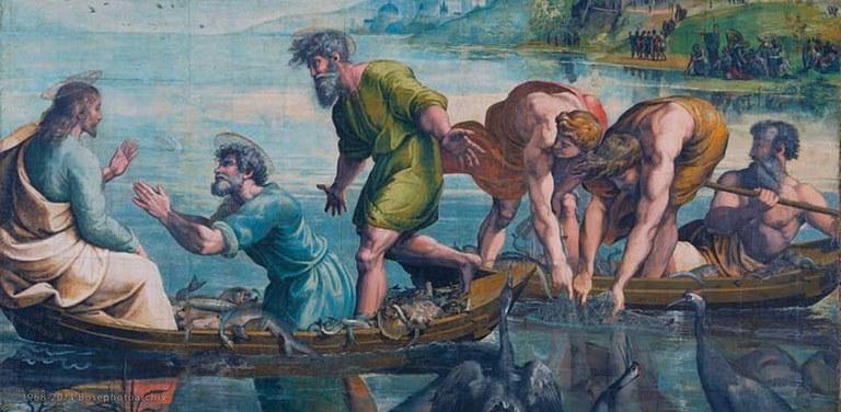 Raffaello Sanzio, La pesca miracolosa, 1515-1519, cartone dipinto, Victoria and Albert Museum, Londra.