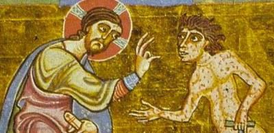 Cristo e il lebbroso, miniatura medievale