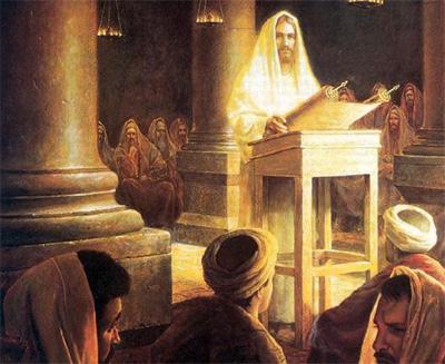 Gesù nella sinagoga di Greg Olson.jpg