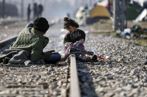 Migranti a Idomeni, tra Grecia e Macedonia (Lapresse)