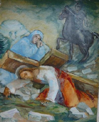 Una degli affreschi lungo la Via Crucis.jpg
